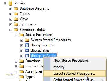 Executing stored procedure