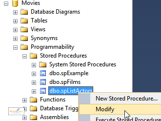 Modifying a stored procedure