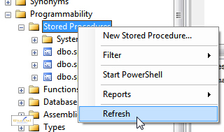 Refreshing list of stored procedures