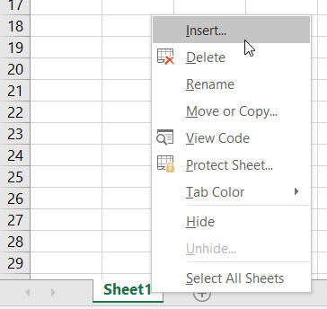 Inserting a worksheet
