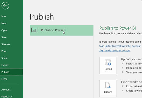 Publishing to Power BI