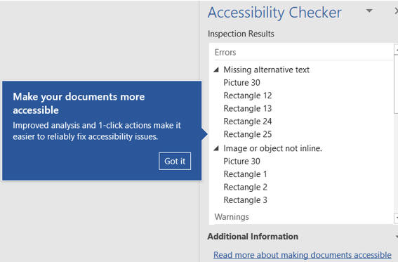 Accessibility checker results
