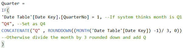Power BI Date Calendar Quarter