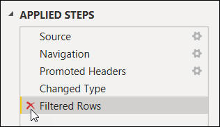 Extra filtered rows step