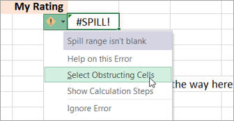 Select obstructing cells