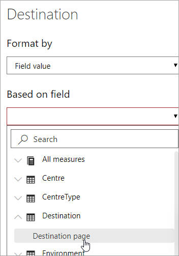 Choosing field for page