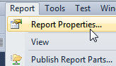 Top report properties menu