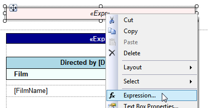 Creating report title expression