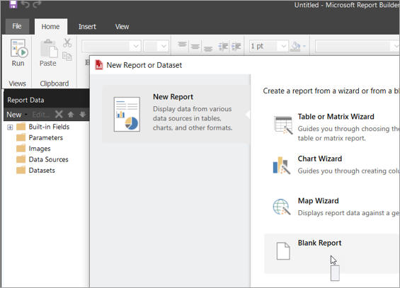 The report builder interface