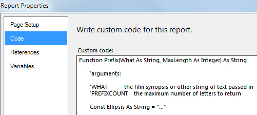 Report Properties dialog box - code tab