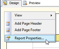 Right-click menu report properties