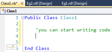 Writing code in class in VB
