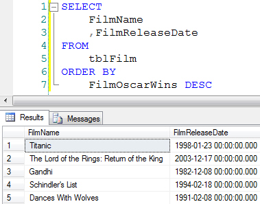 Sorting in SQL Server Queries