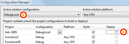 Changing debug configuration