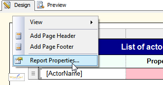 Show report properties dialog box