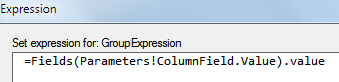 The column grouping expression