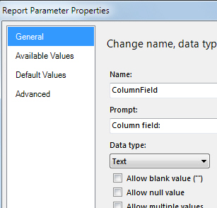 Parameter properties dialog box