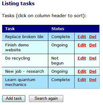 Gridview listing tasks to do
