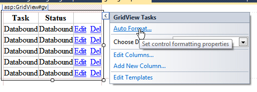 The autoformat option for a gridview