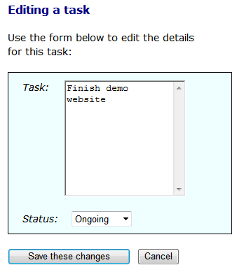 Edit form for a task