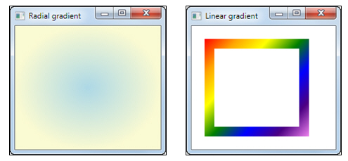 A radial and linear gradient