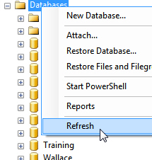 Right-click to refresh databases