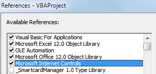 References being used in VBA