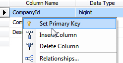 Setting primary key