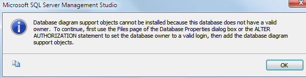 Database diagram error message