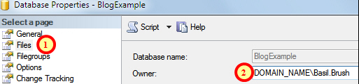 Database properties dialog box