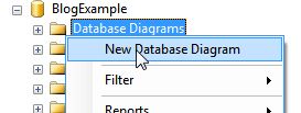 Create database diagram menu