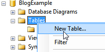 New table menu option