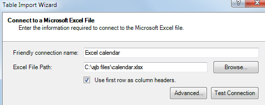 Choosing Excel file
