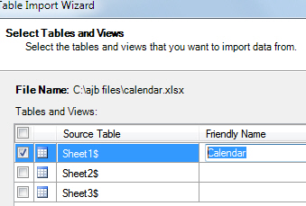 Choosing Excel worksheet