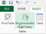 Recommended pivot tables icon