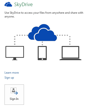 SkyDrive dialog box