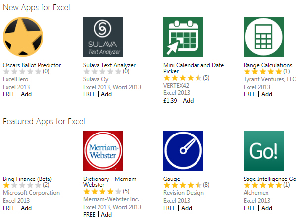 Some Excel apps available