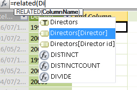 Typing RELATED function to get director name