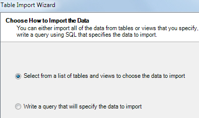 Choose tables to import