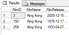Three films matching results