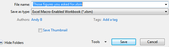 Choose macro enabled workbook