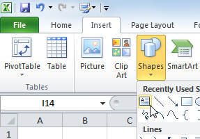 Adding a textbox to Excel