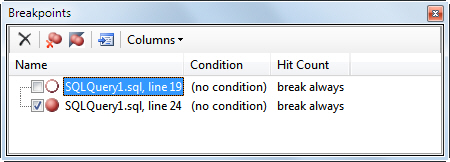 Breakpoints window