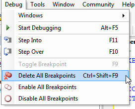 Delete all breakpoints menu