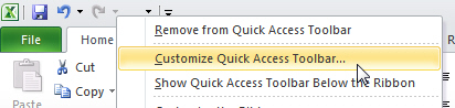 Customise quick access toolbar