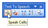 The speak cells tool