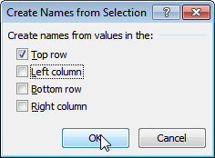 Creating range names from selection