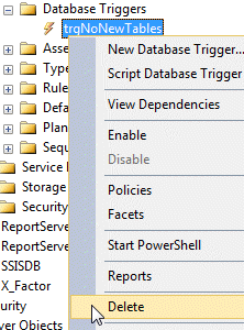 Deleting database trigger