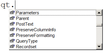 Some query table parameters