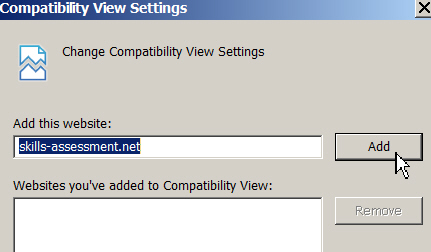 Adding to compatibility view